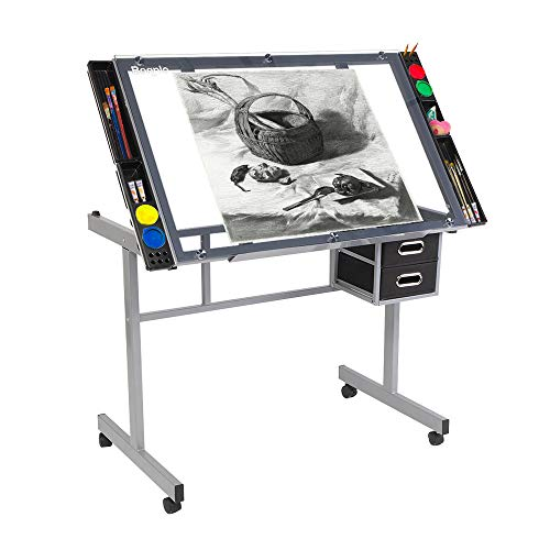 Bonnlo Glass Top Drafting Table, Professional Drawing Desk Art Craft Work Station, Angle Adjustable w/Storage Drawers for Reading, Writing