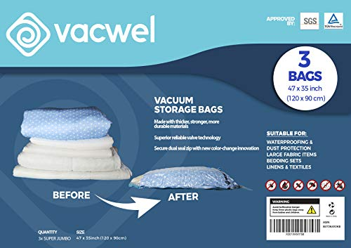 Jumbo XXL Vacuum Storage Bags, 47 x 35 Space Saver Bags for Clothes, King Comforters or a Mattress Topper, Thick \u0026amp; Strong XXL Size (3 XXXL Bag Pack)