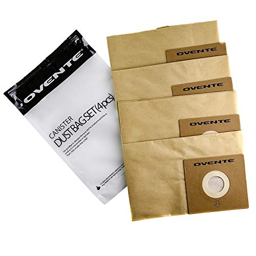 Ovente 4-Pack Premium Disposable Compact Dust Bag Replacement with 99.9% Ultra Filtration, Fit for ST1600 Canister Vacuum Cleaner Model Series Large Size and Easy Storage, Brown ACPST16704