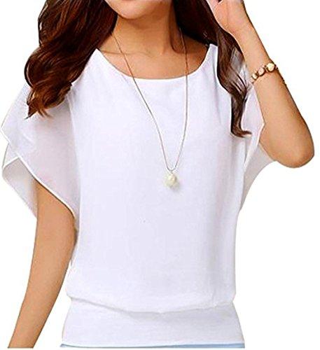 Hount Womens Summer Crew Neck Short Sleeve Tunic Tops Plus Size Chiffon Shirts Tops (Small, White)