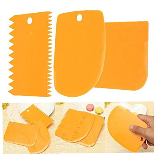 LAVALINK 3pcs / Set Gebäck Brotschneidemaschine Back Paste Werkzeuge Kuchen Scraper Spatelblatt orange