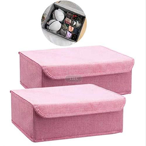 Xianheng 下着収納ケース 仕切り 蓋 仕切りボックス 2点組 収納ケース ボックス 下着収納 チェスト 仕切りケース ふた付き 収納ボックス 下着収納ボックス 折りたたみ 収納 ケース 小物入れ 靴下収納 ブラジャー 無地 type1-ピンク色