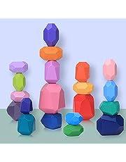 Houten stapelspeelgoed Stenen Montessori voor peuters, 20 stuks gekleurde stenen bouwsteenset Balanceren en sorteren Activiteit Educatief speelgoed voor kinderen Jongens Meisjes & Huis Ornament