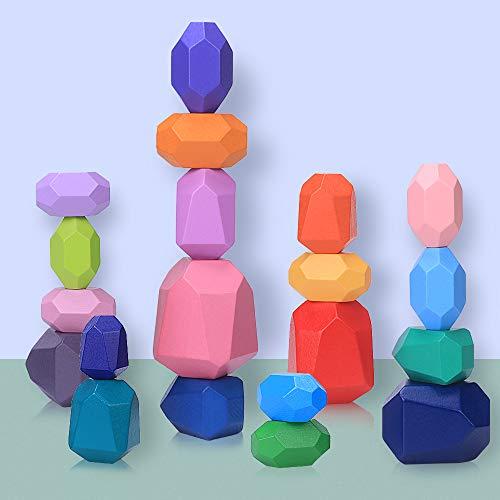 Blocchi di Costruzione di Pietre del Legno, 20 Pezzi Montessori Giochi da Impilare per Bambini Colorato Blocco D'equilibrio in Legno di Pietra Naturale Giocattoli Educativi Impilabile & Ornamento