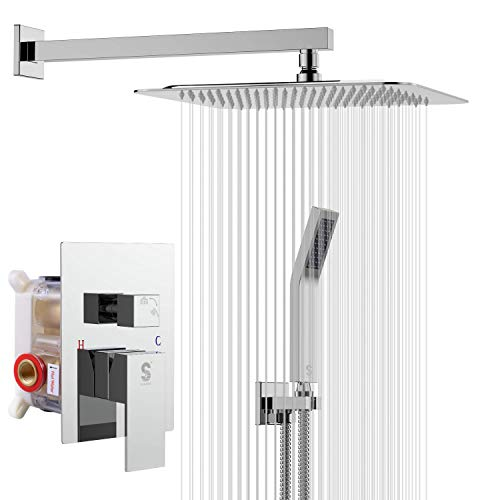 SR SUN RISE SRSH-F5043 Bathroom Luxury Rain Mixer Combo Set Wall Mounted Rainfall Shower Head System Polished Chrome, (Contain Faucet Rough-in Valve Body and Trim)