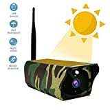 Goglor Solar Powered Security Camera, Wireless WiFi, Rechargeable Battery Bullet Surveillance, Waterproof HD