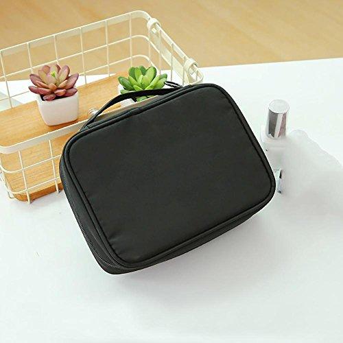 Handy Cosmetic Bag Mini Travel Portable Waterproof Nylon Material Sac de lavage pour les filles , black