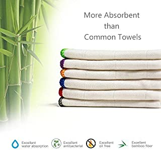 100% Bamboo Kitchen Dish Cloths (6 Pack) White Washcloths Dish Towels, Cleaning Cloths & Dish Rags(12 x 12 Inch), Ultra Absorbent Better Than Cotton