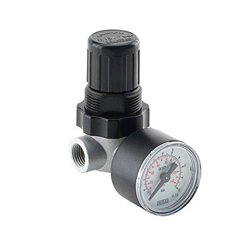 Mini Druckregler Druckminderer Druckluftminderer 340 l/min Regler; mit Manometer (G 1/4