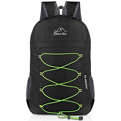 Crenze 25L Lightweight Foldable Backpack, Travel Hiking Waterproof Daypack, Men Women Small Rucksack for Outdoor Camping Mountaineering Walking Cycling Climbing