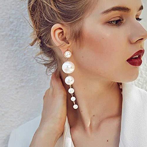 Jovono - Orecchini lunghi con perle, per donne e ragazze, alla moda, design creativo