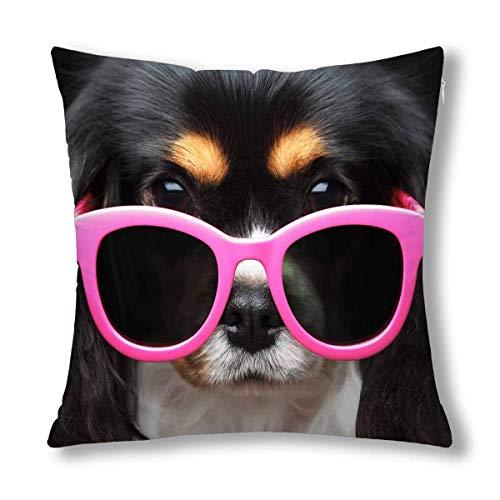 HZLM Funda de cojín decorativa para cachorro, diseño de perro con gafas de sol, color rosa, 45 x 45 cm