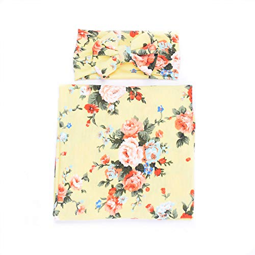 Galabloomer Newborn Receiving Blanket Headband Set Flower Print Baby Swaddle Receiving Blankets Light Yellow