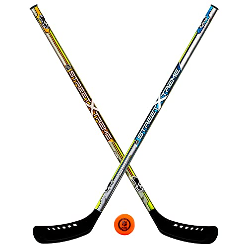 Franklin Sports Youth Street Hockey Set - Includes 2 Street Hockey Sticks and 1 Street Hockey Ball - Official NHL Licensed Product - Perfect Hockey Starter Set for Kids