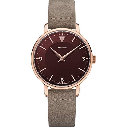 Junkers Therese Damen Analog Quarz Uhr Lederarmband Vintage rosé rot 9.25.01.10