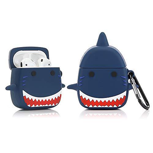 YIGEYI Funda de Silicona Compatible con Airpods 1 y 2 Case Cover Divertida de Dibujos Animados en 3D[Serie Linda del Animal Doméstico] (Tiburón)