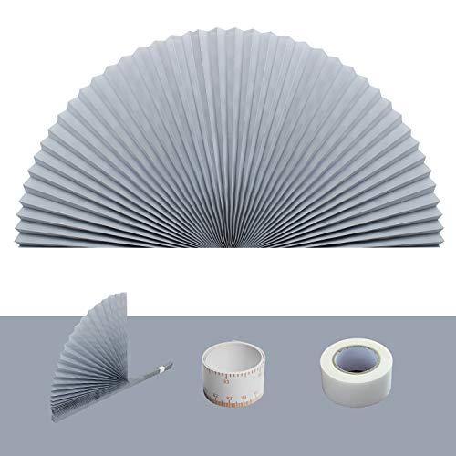 Plissee mit Bogenfenster, einfach zuzuschneiden und zu installieren, Plissee-Lampenschirme, fliternd, Linght und verdunkelnd, 182,9 x 91,4 cm, Grau
