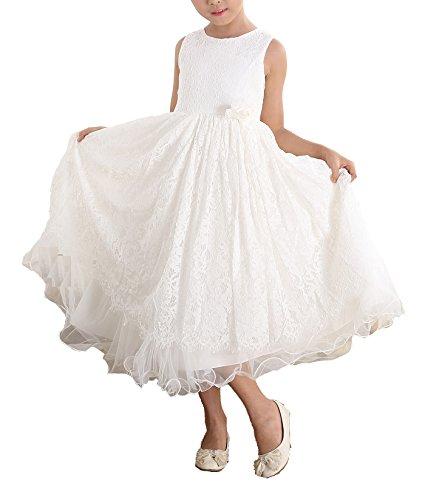 Cinda Elfenbein Spitze Brautjungfer Kleid Blumenmädchen Kleid Elfenbein 128-134(Fabriknummer 12)