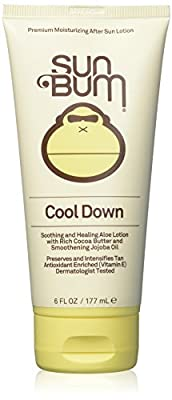 Sun Bum Cool Down Hydrating After Sun Lotion with Hydrating Aloe, Cocoa Butter and Vitamin E   Moisturizing Sun Burn Relief   Hypoallergenic, Gluten Free, Vegan   6oz Tube