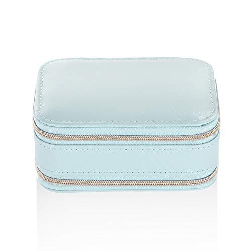 EHDFS Caja de joyería pequeña de viaje portátil para joyas, pendientes, pendientes, caja de almacenamiento azul