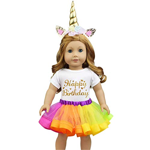 Ecore Fun 18 Inch Unicorn Doll Clothes Outfits for American 18 Inch Girl Doll with Jumpsuit, Rainbow Dress, Headband - Birthday New Year Gift for Kids
