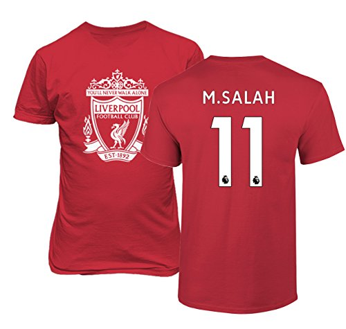 Tcamp Liverpool #11 Mohamed Salah Premier League Boys Girls Youth T-Shirt (Red, Youth Small)