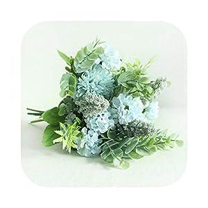 Wedding Flower Bouquet Bride Fortune Ball Artificial Silk Flower Bouquet Pompom Begonia Eucalyptus Leaf Wedding Bouquets