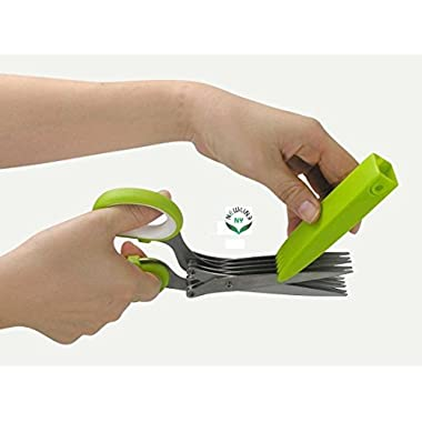 NewlineNY Heavy Duty Stainless Steel 10-Blade Gourmet Herb Scissors with Blades Guard Cover Cleaner