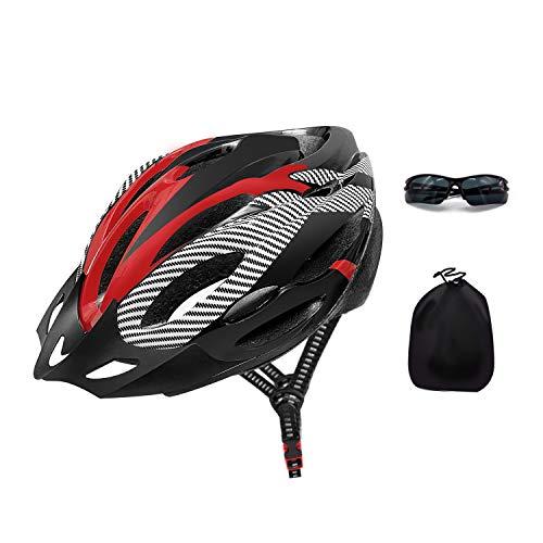 CHIITEK Casque de vélo léger de montagne avec 21 aérations, visière amovible, lunettes de soleil et sac de transport pour femmes, hommes, adolescents