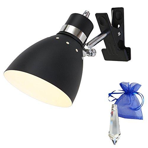 Klemmstrahler Schwarz matt E27 Fassung 230V Vintage Klemmlampe Wandleuchte Industrial Leselampe für LED und Glühlampe im Werkstatt-Leuchte Klemmleuchte Loft-Lampe Retro Look 6827ZW + Giveaway