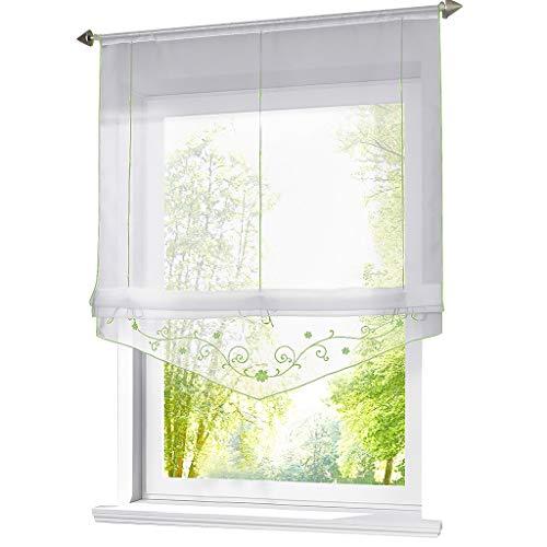 ESLIR Raffrollo mit Schlaufen Raffgardinen Gardinen Küche Transparent Schlaufenrollo Vorhänge Bestickt Modern Voile Grün BxH 120x140cm 1 Stück