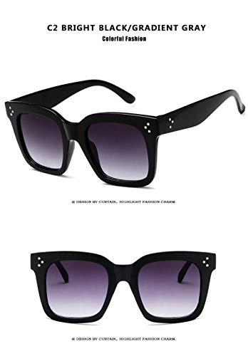 Sonnenbrille Big Box Cat Eyes Damen Sonnenbrille Polarisierte Weibliche Sonnenbrille Retro-Stil Big Cat Eye Brille-C2