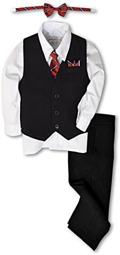 Johnnie Lene JL40 Pinstripe Boys Formal Dresswear Vest Set 5 Black White product image