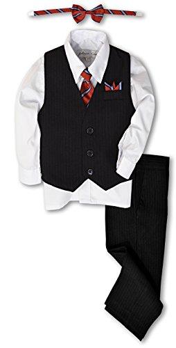Johnnie Lene JL40 Pinstripe Boys Formal Dresswear Vest Set (8, Black/White)