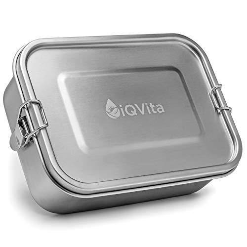 iQVita® Premium Edelstahl Brotdose – 800ml – Auslaufsichere Lunchbox mit Flexibler Trennwand – 2 Fächer – BPA- & Plastikfrei – Umweltfreundlich und Nachhaltig – Vesperdose für Kinder & Erwachsene