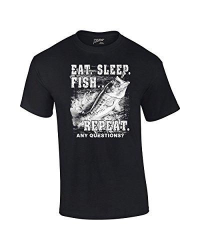 Fishing Eat Sleep Fish Repeat Funny Outdoors Novelty Short Sleeve T-shirt Fisherman Bass Trout Catfish Crappie Walleye-Black-Medium