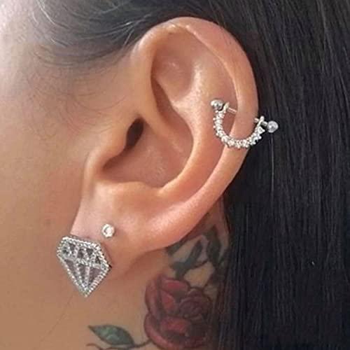 zunruishop Knorpelohrring Sterling Silber Ohrringe für Frauen Ohrringe Micro-Inline U-förmige Piercing Ohrstecker Schmuck Tropfenohrringe (Gem Color : Silver)