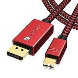 iVANKY Câble Mini DisplayPort vers DisplayPort 2m [4K@60Hz] - Câble Mini DP vers DP en Nylon Tressé, Connecteurs Plaqués Or 24K, Thunderbolt 3 Compatible pour MacBook Pro/Air, Surface Pro etc - Rouge