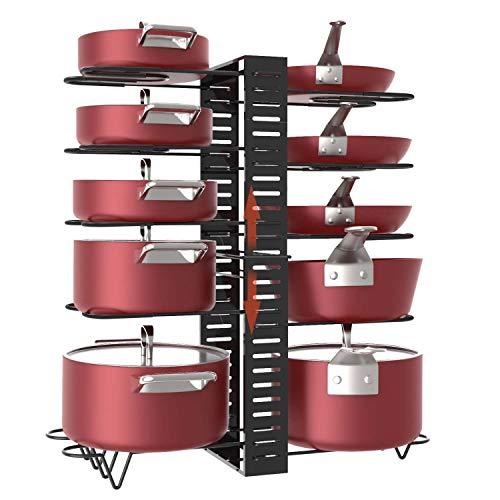 Estante para ollas, 10 niveles de altura ajustable con pies antideslizantes, 3 métodos de bricolaje, armario de cocina expandible, sartenes y macetas, organizador de tapa de soporte