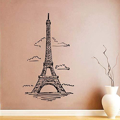 YuanMinglu Wolke Eiffelturm Vinyl Kunst Wandaufkleber Frankreich Paris Wohnzimmer Aufkleber Wandtattoo Dekoration 58X100CM