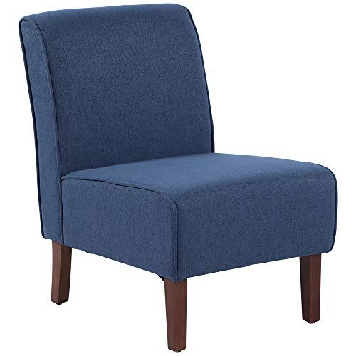 HOMCOM Sillón de Comedor Salón sin Brazos Silla Individual con Asiento Acolchado y Patas de Madera 57x76x83,5 cm Azul