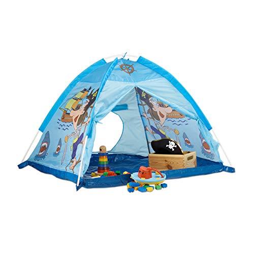 Relaxdays Tienda Campaña Infantil de Piratas, Tienda para Niños, Interior-Exterior, Poliéster, 90 x 118 x 115 cm, Azul