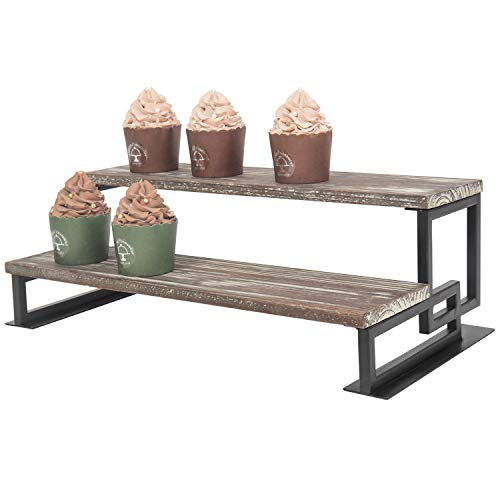 MyGift 2-Tier Torched Wood and Metal Dessert Display Riser