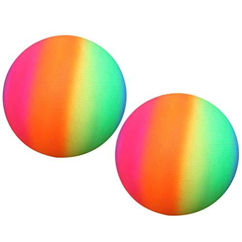 BESPORTBLE Packung mit 2 Regenbogenbällen PVC-Sportspielball Kickball-Schlagball für Spielplatzaktivitäten im Freien