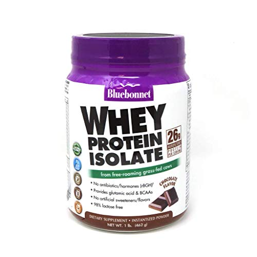 Bluebonnet Nutrition Whey Protein Isolate Powder, Whey From Grass Fed Cows, 26g of Protein, No Sugar Added, Non GMO, Gluten Free, Soy free, kosher Dairy, 1 Lb, 14 Servings, Chocolate Flavor