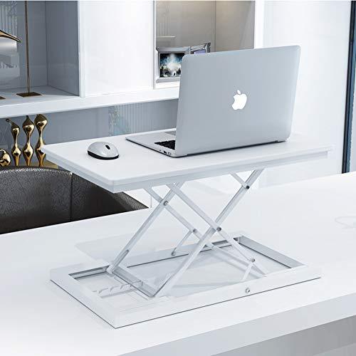 LH Höhe verstellbar stehpult,PC Workstation Stand zu überwachen Riser Sitzen, Stand Ergonomischer Schreibtisch Konverter Desktop-Lifter-Weiß 60x35cm(24x14inch)
