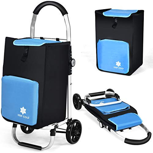 COSTWAY 53L Einkaufstrolley mit Kühlfach und 2 Haken, Einkaufswagen klappbar, Handwagen bis 50kg belastbar, abnehmbare Einkaufstasche zum Einkaufen, Campen, Transport
