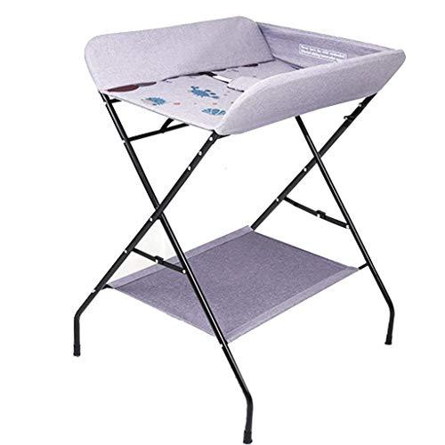 JALAL Table à Langer bébé Pliante pour Petits espaces, Commode à Langer pour Toute-Petite Fille et garçon avec Rangement, 0-3 Ans, Rose/Gris