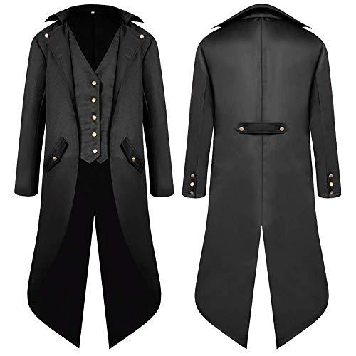 SwissWell Herren Steampunk Vintage Gothic Jacke warme Frack Herrenjacke Knöpfe Langer Mantel Cosplay Kostüm Graben Bomberjacke Cape mit Weste,Schwarz,EU-L