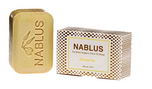 Nablus Soap Natuurlijke Pure Olijfolie Zeep Citroen, voor de droge huid, extra zacht, gemaakt in Palestina, vrij van palmolie en kunstmatige ingrediënten, handgemaakt van 80% extra vierge olijfolie, 100g